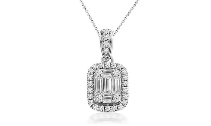 0bf776a2378ce 3/8 cttw Round & Baguette Diamond Cluster Pendant w/18