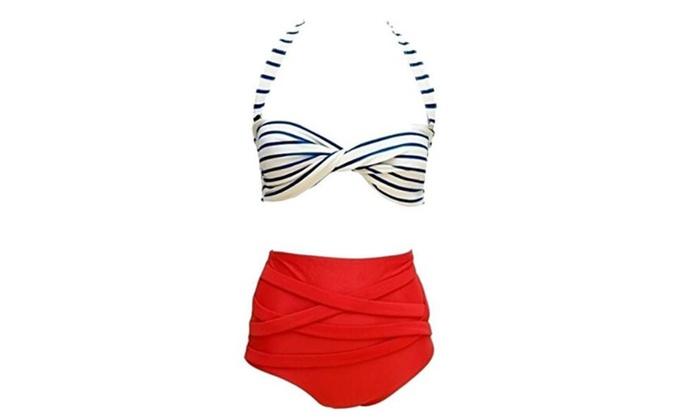 Women's Fashion Vintage High Waisted 2 Pieces Bikini Swimwear  - White/Red / Small