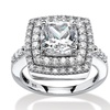 2.23 TCW CZ Halo Ring in Platinum Over Silver
