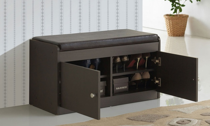 Margaret Wood Two-Door Shoe Storage Cabinet with Seating Bench ... & Up To 37% Off on Margaret Wood Storage Cabinet   Groupon Goods