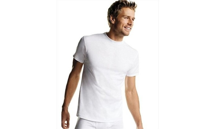 61d8bc08031db Hanes 2135P6 Men White Tagless Crewneck Undershirt 6-Pack XL White One Size  Multi-color