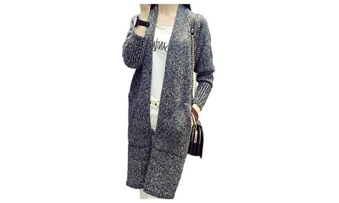 Women's Winter Long Sleeve Loose Long Knit Sweater Cardigan