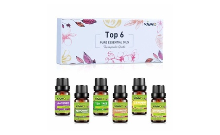 KIUNO Top 6 10ML Pure Aromatherapy Premium Grade Essential Oils Set