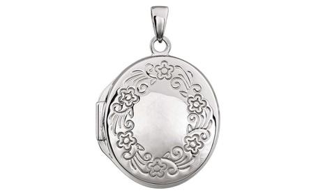 Sterling Silver Design-Engraved Oval Locket d1641d6e-231e-4978-bde5-7346b9029750
