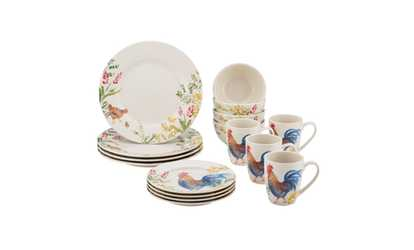 222 Fifth Eliza Teal 16 Piece Dinnerware Set, Service for 4 | Groupon