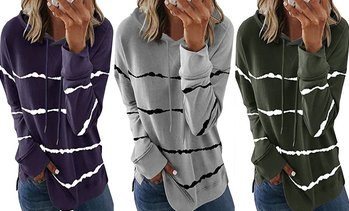 Women's Casual Tie Dye Striped Loose Long Sleeves Drawstring Tunic Tops