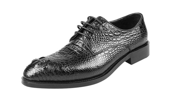 Men's Crocodile Pattern Leather Oxford