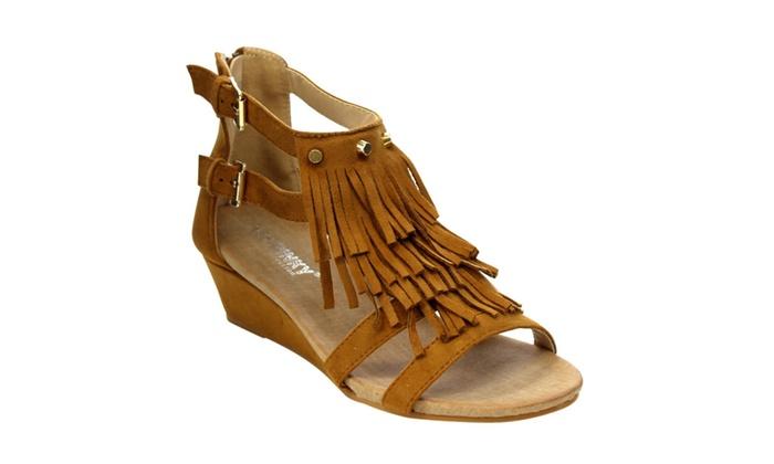 Beston SUZIE-02 Women Back Zip 3 Layers Fringe Sandals