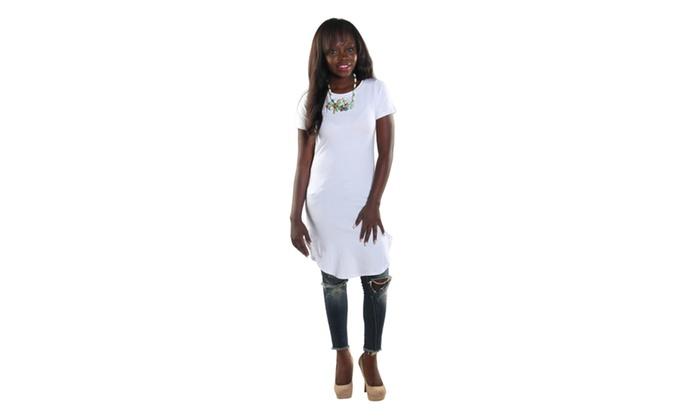 Xehar Women's High Round Neckline Short Sleeve Knee High Shift Jade Dress