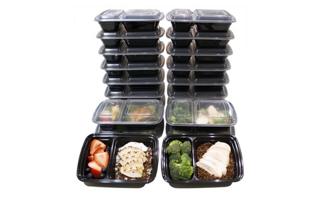 16 Pc 2 Compartment Reusable Food Storage Containers Meal Prep Fitness photo