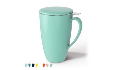 Porcelain Tea Mug with Infuser and Lid, 15 OZ - Mint Green 2773ca8b-b49b-4be1-90c3-3f7e6755f425