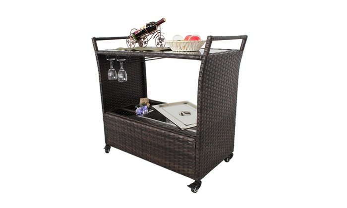 Outdoor Patio Brown Wicker Rattan Chest Portable Bar Cart
