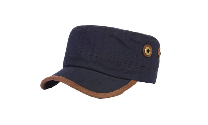 Men's Flat Crown Casual Slightly Curved Brim Flat Top Hat