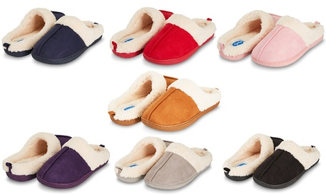 Floopi Women's Indoor Outdoor Fur Lined Clog Slippers with Memory Foam