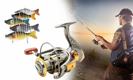 Spinning Fishing Reels 6BB Lightweight Smooth Powerful Reels & 5 PCS Fish Lures