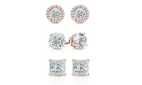 3-Pack Mina Bloom Rose Gold Plated Sterling Silver Earring Set