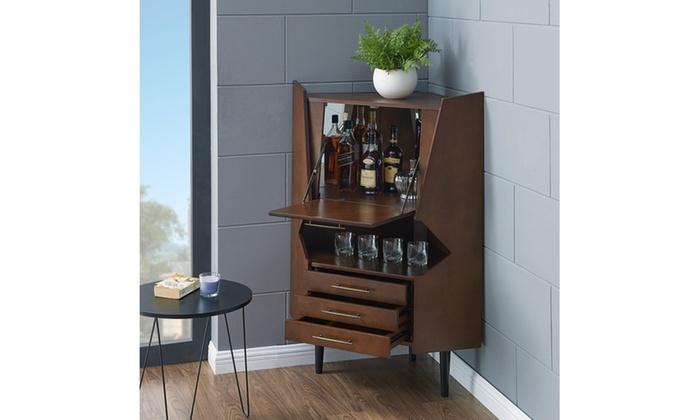Larson Corner Bar Cabinet Midcentury Modern Dark