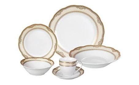 Lorenzo Porcelain Wavy Edge Dinnerware Set, 24 Piece Service