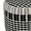 """LR Home Mini Check Black Natural Cotton Pouf Ottoman (18"""" x 14"""")"""
