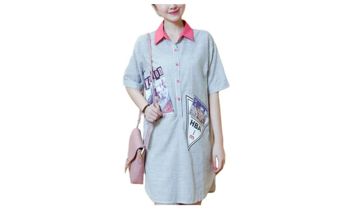 Women's Casual Short Sleeve Buttons Up Loose Fit Blouse
