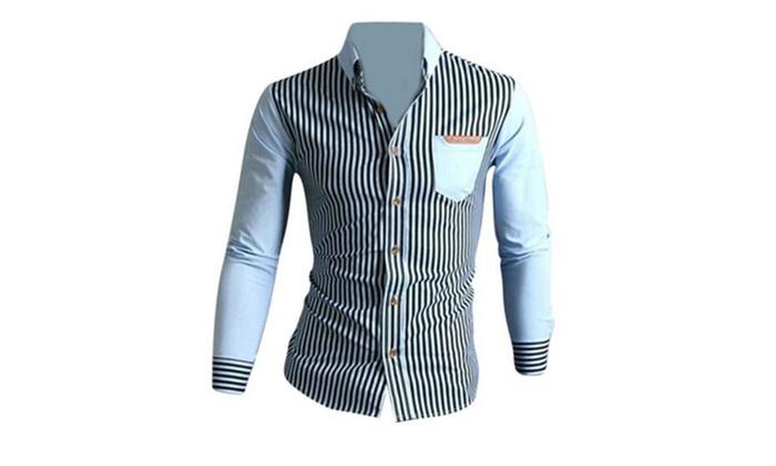 Men's Slim Fit Long Sleeves Stripe Casual Shirts Tops