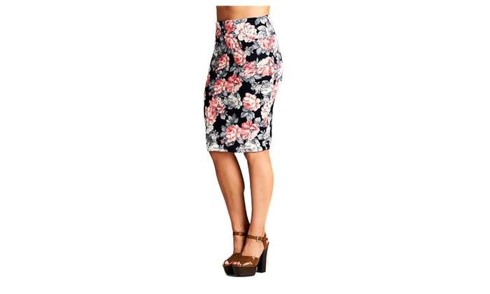 Plus Size Floral Rose High Waist Pencil Skirt Womens