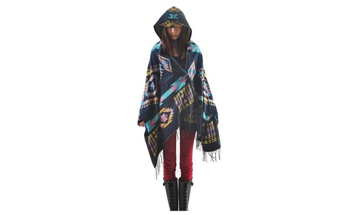 Women's Geo Print Tassels Poncho Wrap Shawl Scarf Hooded Cape