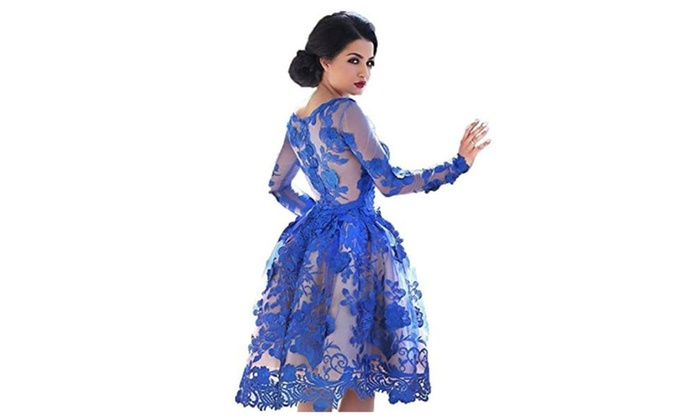 Women s Short Prom Dresses Long Sleeves Party Formal Gowns 2 - Royal Blue    2 43497dab31