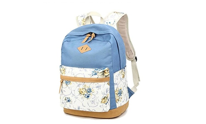 Voogo Girls Teens Canvas Stylish Floral Book Bags School Backpack