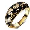 Vintage Gold-color Black Epoxy Carved Design Rings for Women
