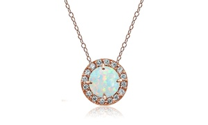 White Opal & CZ Round Halo Necklace in Rose Gold Flash Sterling Silver