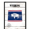 "Wyoming State Map Accent Shabby Chic Flag 7""x9"" Framed Canvas Print"