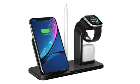 4 in1 Qi Wireless Fast Charger Dock Stand For Apple Watch Airpods