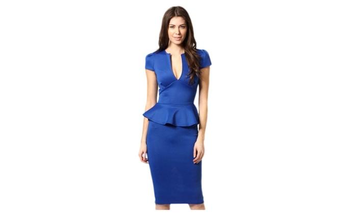 Women's Noble V-neck Midi Peplum Dress Royalblue