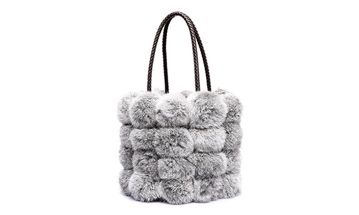 QZUnique Women s Faux Fur Bucket Drawstring Fur Tote Bag ... 4837adff40157