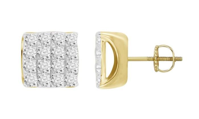 aef01b411 3/4 cttw Diamond mens Square Cluster Screw Back Stud Earrings 10K Yellow  Gold