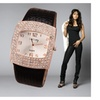 Women's Fashion Watch Quartz Leather Crystal Rectangle Dial Rhinestone