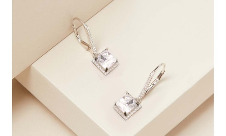 3.00 CT Trillion Or Princess Cut Crystal Earrings With Crystals From Swarovski