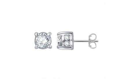 1.00 Cttw Certified Diamond Stud Plus Earring in 14K Gold-KE10637