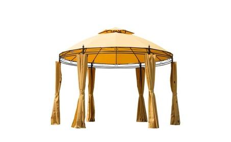 11' Round Outdoor Patio Canopy Party Gazebo with Curtains - Orange 13dc06fa-5767-4bae-b439-2a490bbf5e07