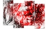 Modern Red and White Floral Art Floral Metal Wall Art 48x28 4 Panels