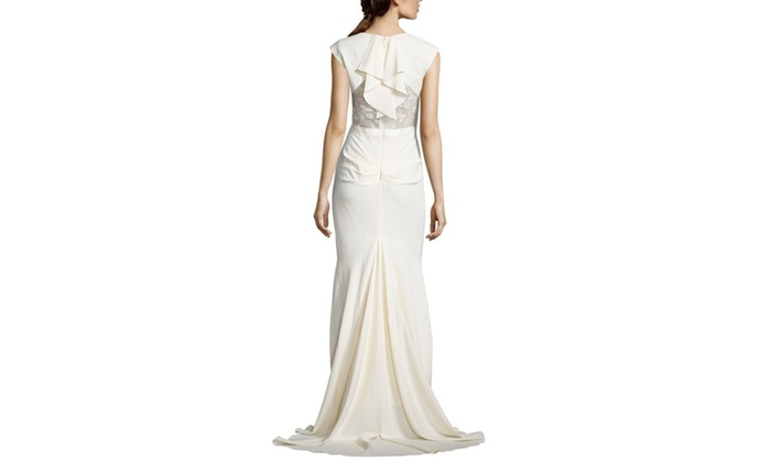NICOLE MILLER Kimberly V-Neck Cap Sleeve Gown | Groupon