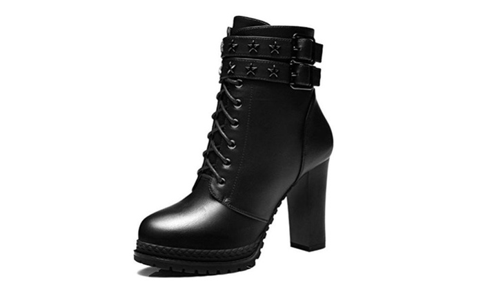 Women's Mid Calf Lace Up Buckle High Heel Ankle Booties Winter Boots