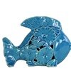 Ceramic Fish Figurine with Floral Cutout Design Small Gloss Finish