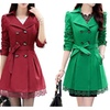 Womens Double-Breasted Bowknot Trench Coat With Belt and Lace Hem