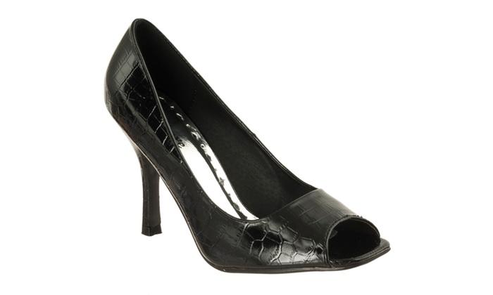 Riverberry Women's 'Shelly' Croco Print Peep Toe Stilettos, Black