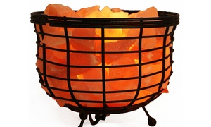 """8"""" Himalayan Wired Basket Lamp with Natural Rocks and Dimmer"""