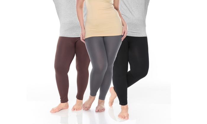b97449d71670a7 Pack of 3: Women's Plus Size Legging (One Size Fits Most)   Groupon