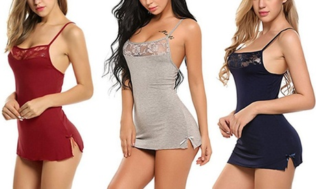 Women's Lace Sleep Wear Ladies Lingerie Night Mini Dresses