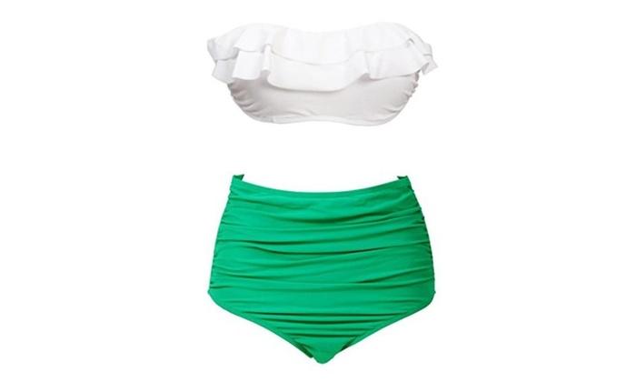 High Waist Bikini, Wearlizer Two Piece Summer Swimwear, Bathing Suit White and Green